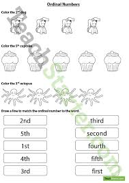 ordinal numbers worksheet coloring and matching teaching