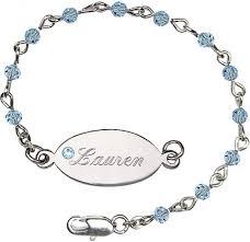 swarovski silver crystal bracelet images Girls swarovski crystal bracelet 4mm beads and nameplate jpg