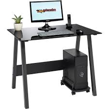 piranha quality home office stylish and compact black glass