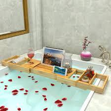 shop amazon com bathtub trays lifewit bathtub caddy tray extendable bamboo shower bath tub organizer with removable trays adjustable