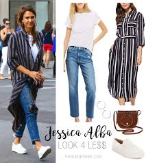 jessica alba wears a dress as a duster looks amazing the budget