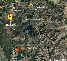Map Of Yellowstone National Park Yellowstone National Park Archives Wildfire Today