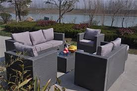 8 Seater Patio Table And Chairs Yakoe 70013 182x65x71 Cm 8 Seater Rattan Garden Furniture Patio