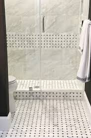 Marble Mosaic Floor Tile Guest Bathroom Remodel Reveal