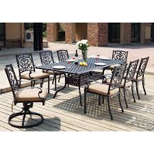 Dining Patio Set - shop darlee santa barbara 9 piece antique bronze aluminum patio