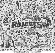 pattern drawing illustrator seamless robot pattern illustrator line tools drawing vector