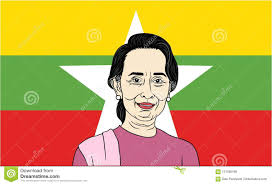 Myanmar Flag Photos Aung San Suu Kyi President Of Myanmar With Flag Background