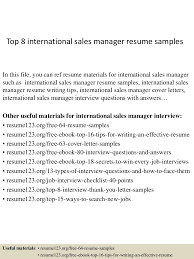 Best Resume Examples For Sales by Top8internationalsalesmanagerresumesamples 150410093853 Conversion Gate01 Thumbnail 4 Jpg Cb U003d1428676781
