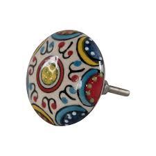 colourful textured ceramic door knob bibelot bee
