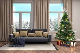 pictures new year 3d graphics christmas tree gifts interior sofa