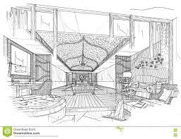 Interior Design Bedroom Drawings Sketch Interior Perspective Bedroom Black And White Interior