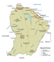 South America Political Map by Large Detailed Political Map Of French Guiana With Major Roads