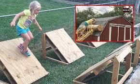 dad makes ninja warrior course for daughter in backyard stomp