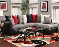 comfy living room with modern stylish red sofa and white and grey