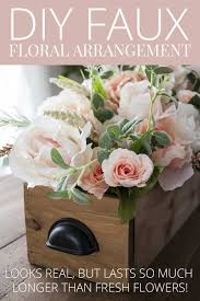 faux flowers diy faux floral arrangement feminine yet rustic crate
