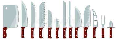 types of knives kitchen different types of kitchen knives stock vector illustration of