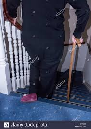 Walking Up Stairs With Crutches by Elderly Walking Down Stairs Stock Photos U0026 Elderly Walking Down