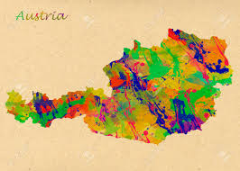 austria watercolor map beautiful wall art home decor canvas
