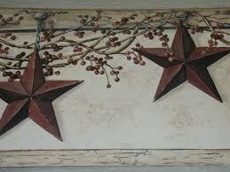 york country primitive hanging star berries wallpaper border