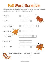 free printable fall word unscramble slide 2