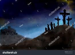 crucifixion jesus christ on calvary hill stock illustration