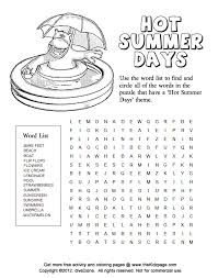 summer word puzzle printable colouring sheets