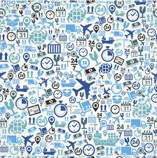 shipping logistics concept blue icons seamless pattern background