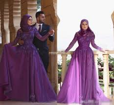modern mother of the bride dresses tea length with sleeves long sleeve purple women muslim hijab evening dresses plus size a