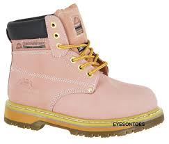 s boots uk pink groundwork safety steel toe cap leather work hiking