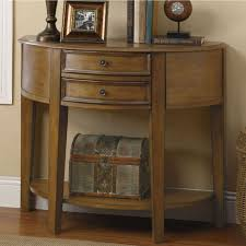 Oak Console Table With Drawers Furniture Oak Half Moon Console Table With Two Drawer And Shelf