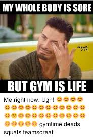 Gym Life Meme - my whole body is sore city but gym is life me right now ugh