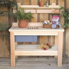 Outdoor Potting Bench With Sink Painting A Garden Potting Bench Wood Furniture