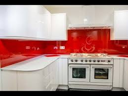 Red Kitchen Pics - red glass kitchen splashback and white glass worktop installation