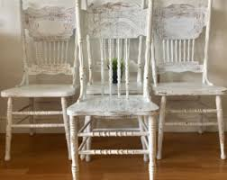 White And Wood Dining Chairs Farmhouse Chairs Etsy