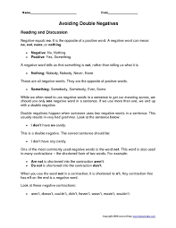 double negative worksheet free worksheets library download and