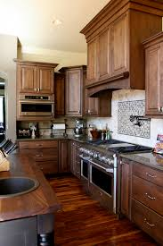 Crown Moulding Above Kitchen Cabinets Archaic Brown Color High End Wooden Kitchen Cabinets Features