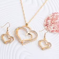 earring necklace sets wedding images 17km romantic heart pattern crystal earrings necklace set silver jpeg