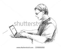 focused on using tablet vector stock vector 537434707