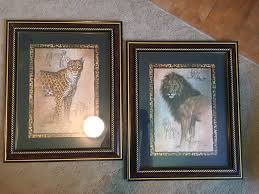 pair of home interiors leopard lion print pictures safari by j