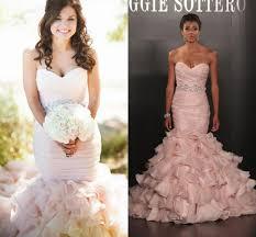 pink wedding dresses mermaid style flouncing ruffles organza plus