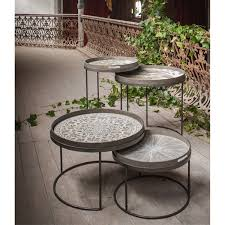Low Table Set - notre monde round tray tables set low 20726 metal frame