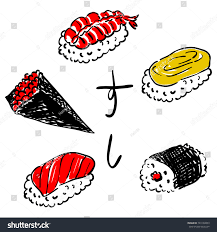 word for cuisine japanese traditional cuisine temaki nigiri roll stock vector
