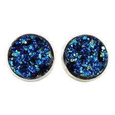 druzy stud earrings metallic blue faux druzy stud earrings glitter jewelry