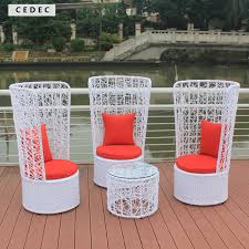 High Back Plastic Patio Chairs Outdoor Patio Wicker Furniture New Resin 4 Pc Bar Server Table