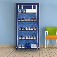 shoe organizer blau ikayaa portable 5 tier fabric shoes organizer rack cabinet