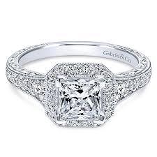 princess cut halo engagement ring estelle 14k white gold princess cut halo engagement ring
