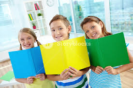 classmates books portrait of happy classmates with multi colored open books smiling