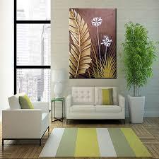 modern large wall art landscape golden foil palm leaves oil