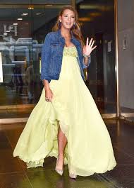 pregnant blake lively dresses down yellow ball gown with jean jacket