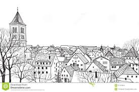 old town cityscape with street sketch of historic building and